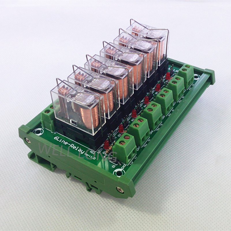 цена на DIN Rail Mount 6 SPDT 16A Power Relay Interface Module,OMRON G2R-1-E DC12V Relay.