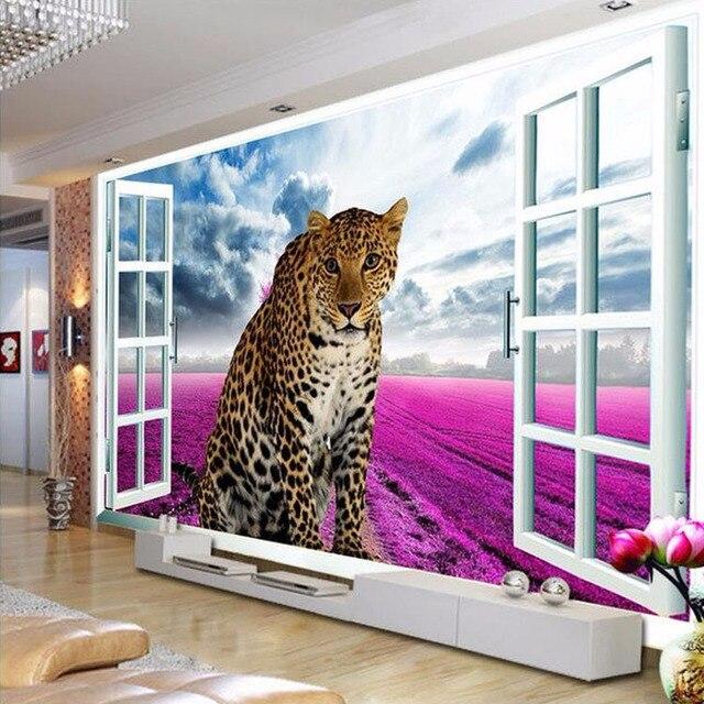 Fototapete Fenster benutzerdefinierte 3d fototapete fenster leopard lavendel