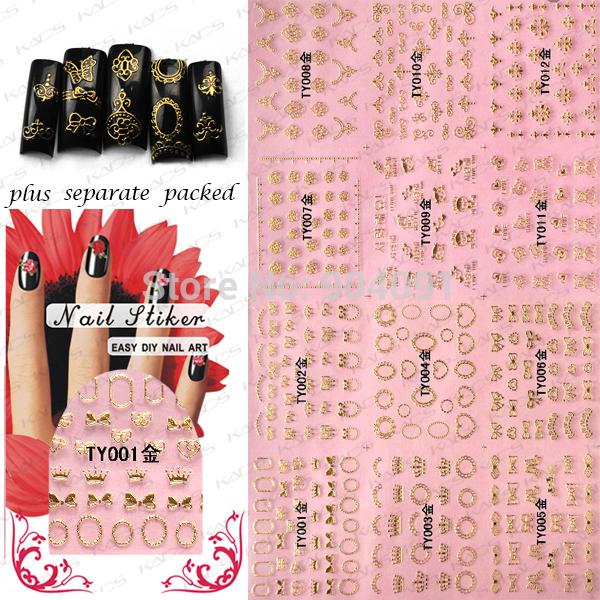 BeautyNailArt 50 Hoja/lot Oro Etiqueta Engomada Del Clavo Del Arte Del Clavo de La Decoración del arte Fantasía Outlooking, 8 diseños disponibles de uñas herramienta