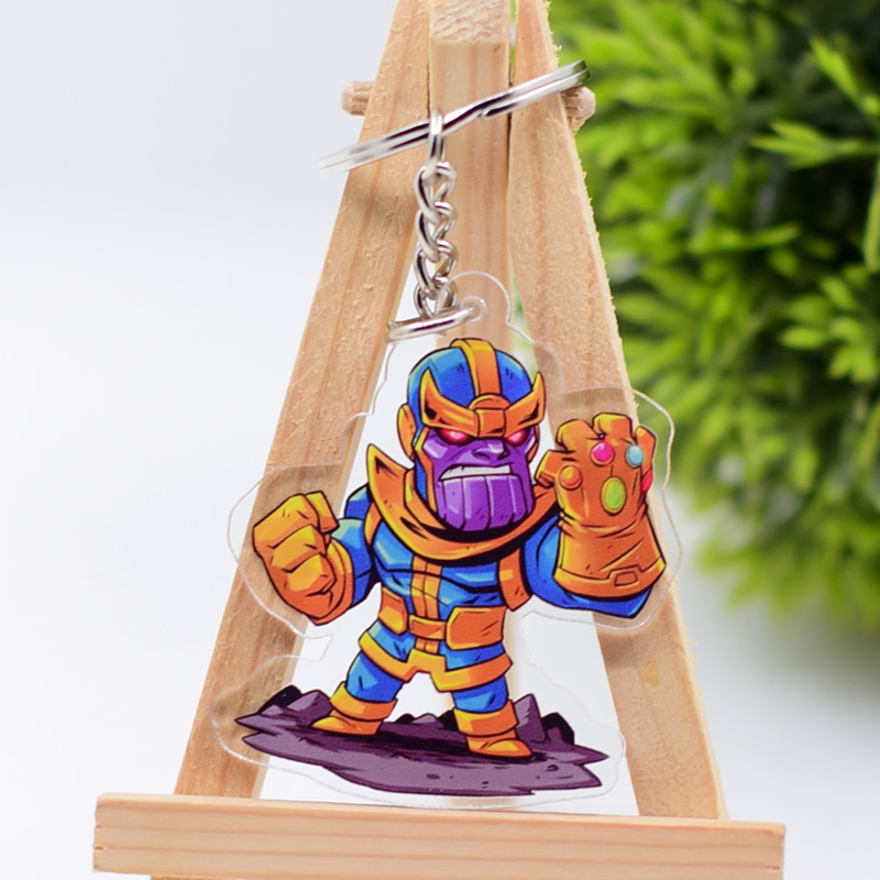 2019 Infinity War Keychain Thanos Double Sided Acrylic Key Chain Pendant Anime Accessories Cartoon Key Ring in Key Chains from Jewelry Accessories