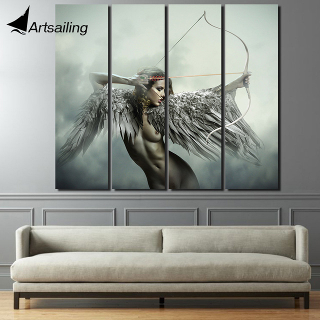 4 piece Printed abstract angel girls wings bow game canvas art ...
