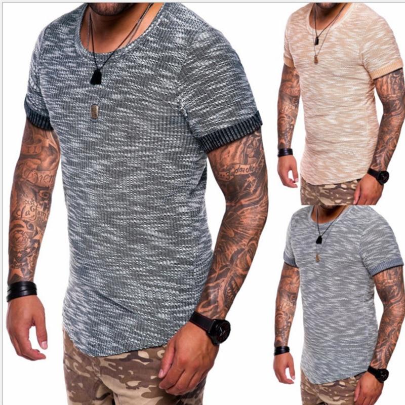 Men's Cotton T-shirt for Men Short Sleeve Striped Pattern fashion tshirts male mens tee t shirts clothing brand