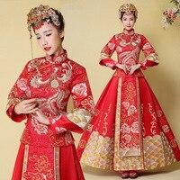 Classic Red Phoenix Chinese Dress Traditional Bride Wedding Gown Vintage Mandarin Collar Qipao Vestidos Noble Evening Cheongsam