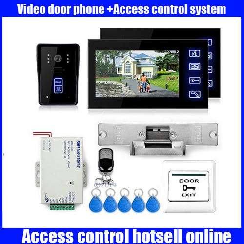 7 Video Door Phone Doorbell with Electric Strike Lock RFID Keyfobs access control system android iso app wifi video door phone rfid keypad doorbell long type no electric strike lock system wifi door access control kit