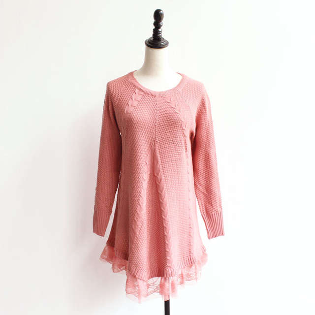 Online Shop Lace Women Sweater Dress Oversized Long Sleeve Pink Knitted  Sweater New Casual Pullovers Ladies Clothing Tops Winter Knitwear  23d9d30988a4