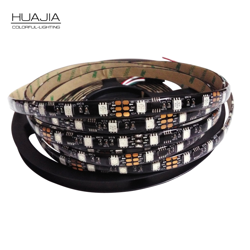 5M Ws2811 شريط LED Dc12V 30/48 / 60leds / m شريط RGB Addressble LED أبيض وأسود PCB IP30 / IP65 / IP67 SMD5050 بكسل شرائط