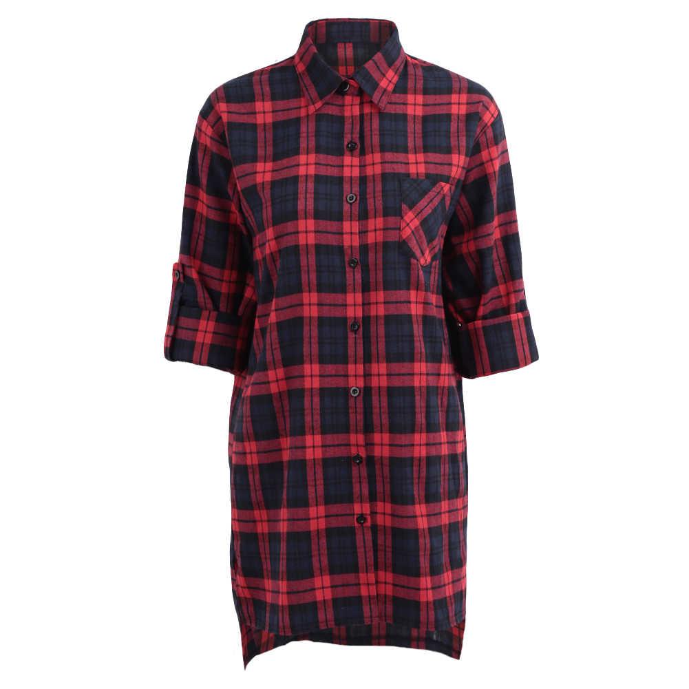 Плюс Размер 3XL 4XL 5XL летние топы клетчатые рубашки блузки женские клетчатые рубашки с длинным рукавом мешковатая клетчатая блузка выше размера Женская блузка