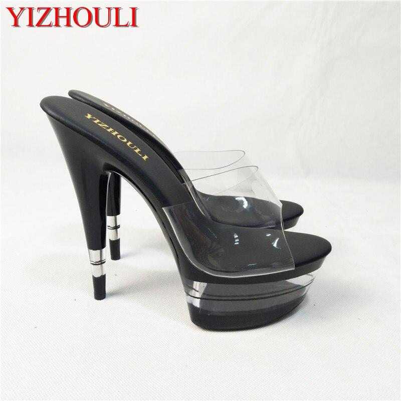 New fashion 15 cm high heels, striped platform, pole dancingperformancebanquet fashion Slippers