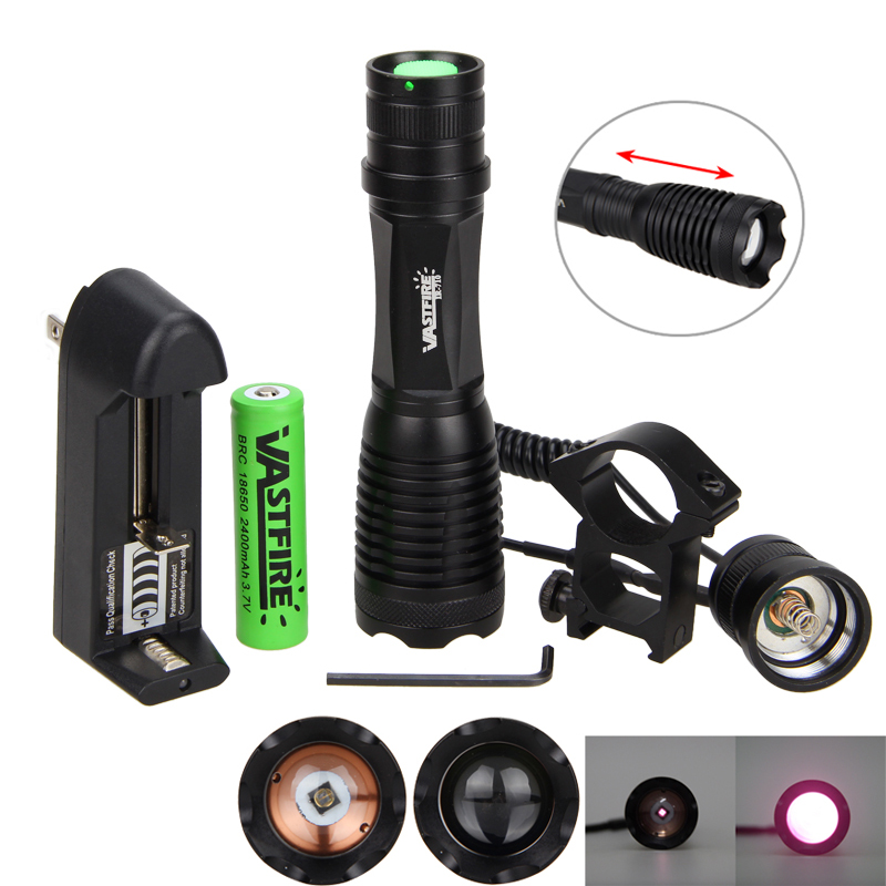 10W 940nm IR LED Flashlight Zoomable Lnfrared Radiation Light Hunting Torch For Night Vision Device+20mm Rail Scope Mount+18650