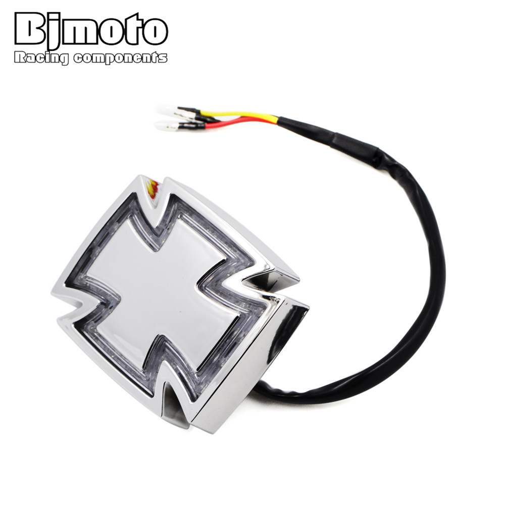 BJMOTO Motorcycle LED Brake Stop Tail light 12V Cross Crucifix License Plate LED Light for Harley Chopper Bobber Cafe Racer 22 bobber cafe oldschool chopper