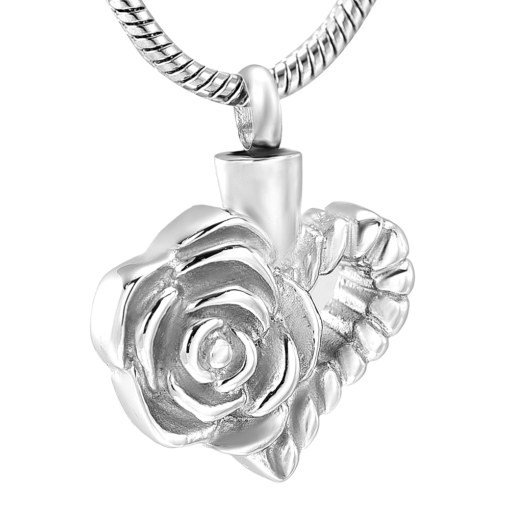 K12440 Flower Heart Cremation Jewelry For Ashes Pendant Stainless