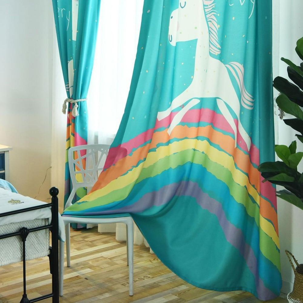 Treatment cartoon curtains for kids living room bedroom curtain rainbow horse balcony window modern design curtains