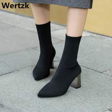 ハイヒール秋/冬の新スキニーブーツ弾性ブーツの女性のストッキングブーツウールニット靴下ブーツ厚いヒール E433
