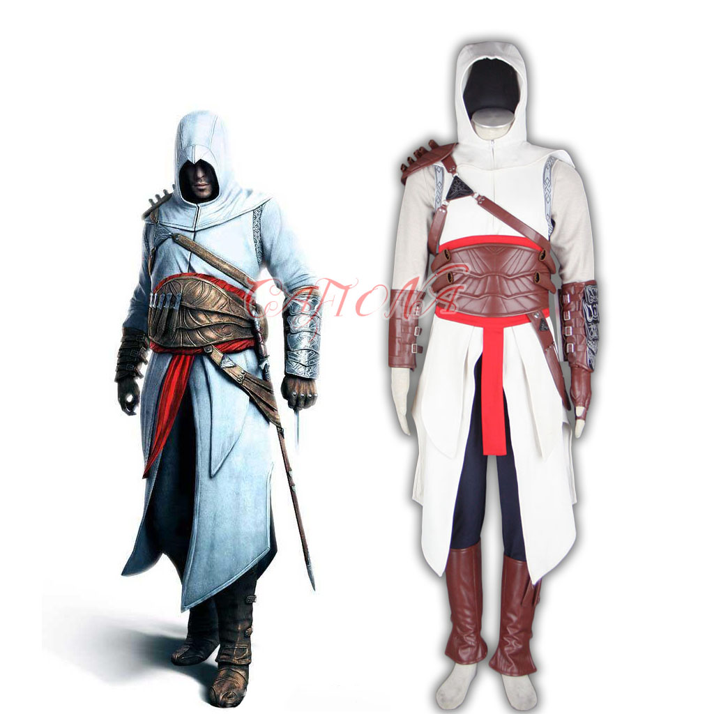 Cafiona Super Hero Assassins Creed Altair Cosplay Costume Cool Man Fighting Outfits High ...