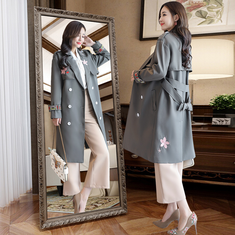 Boutonnage Formelle Trench Outwear Brève coat Mode Double Ceinture Grande Affaires Femmes Nouvelle Taille Broderie 2019 Avec De Automne Picture Décontracté Ow81qxFx