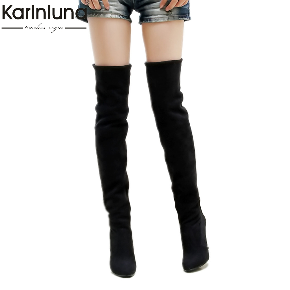 Karinluna 2018 brand Big Size 34-43 thin High Heels Woman Boots Over the Knee Boots Sexy Fashion Winter party Women's Shoes karinluna 2018 large size 33 43 genuine leather pointed toe winter shoes woman sexy thin high heels party boots black