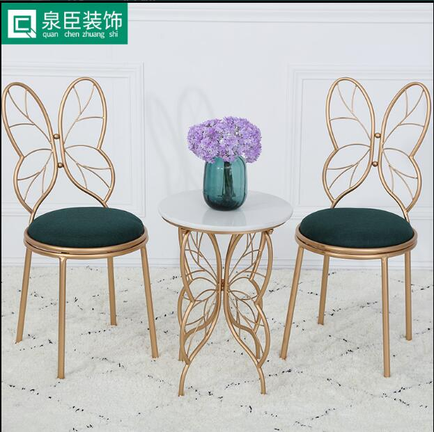 Simple makeup chair manicure metal backrest chair in Storage Holders Racks from Home Garden