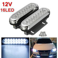 Mayitr 2pcs 12V 16 LED Car Van Daytime Running Driving Fog Light 6000K-6500K White Lamp Universal for Auto Light Source 2pcs auto car fog light lamb led daytime running light headlight external light for skoda citigo 2012 2013 12v car light source