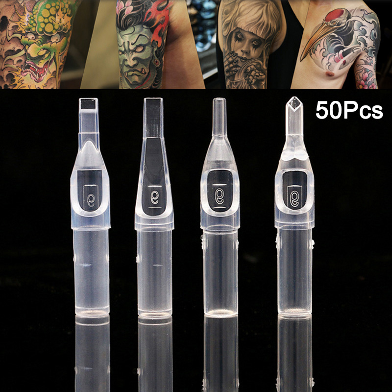 50Pcs/Box Clear Disposable Tattoo Tips Needle Nozzle Plastic Clear Nozzles For R/D/OF/MF SK88