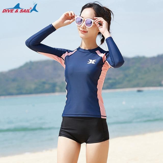 abe32a7a04 Women s 2-pieces Set Rash Guards Navy Splice UV Sun Protection UPF 50+  Skins Rashguard Long Sleeves Shirt+Shorts Swim Suit