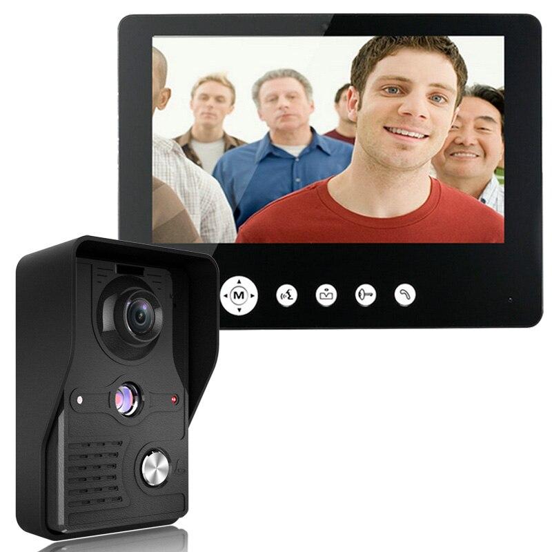Kit d'interphone de sonnette de téléphone de porte vidéo de 9 pouces de montagne 1-caméra 1-Vision nocturne de moniteur