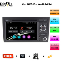 2 din car dvd gps Navigation Android 8.0 For AUDI A4 car radio DVD player Octa Core cpu 1024*600 HD Capacitive screen DVR 4G RAM