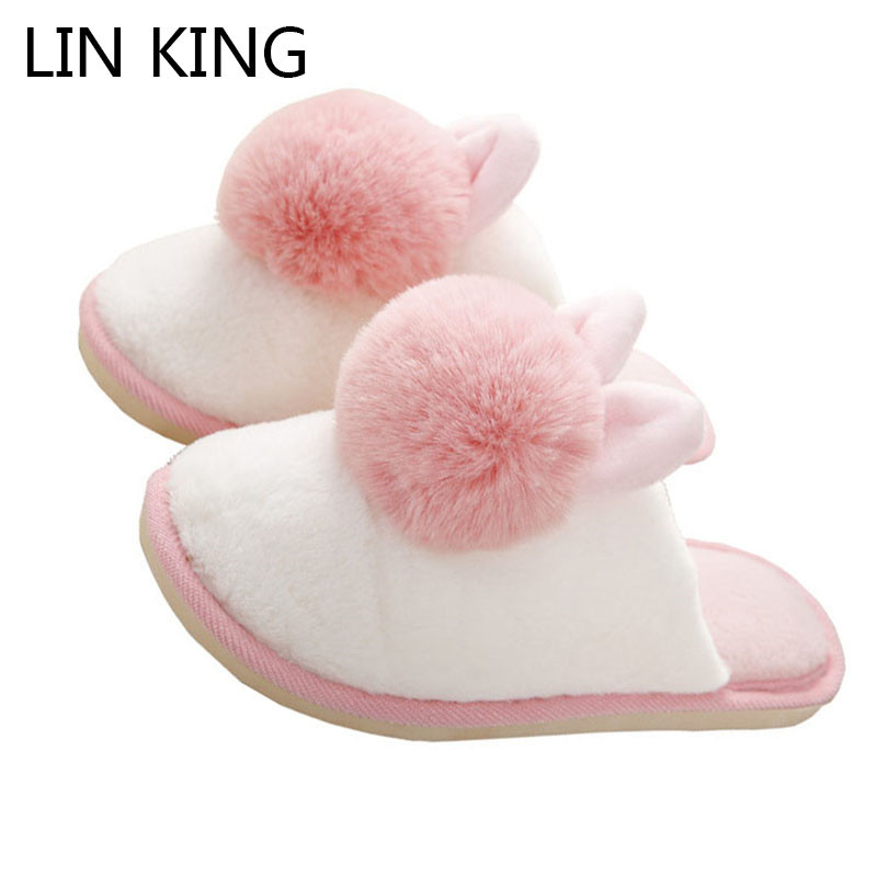 LIN KING Warm Faux Fur Women Winter Indoor Shoes Soft Slip On Home Slippers Comfortable Anti Slip Lazy Cotton Shoes For Bedroom new new men women soft warm indoor slippers cotton sandal house home anti slip shoes