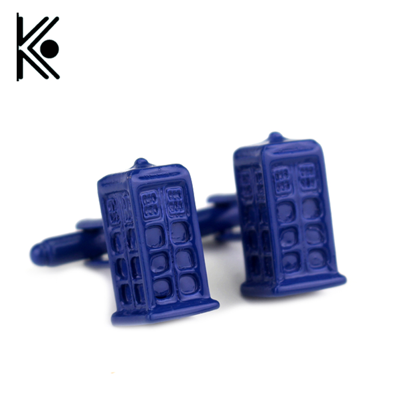 free shipping Doctor Who Blue Police box Cufflinks 2016 New High Quality Policebox Building For Policeman Gift Custom Cuff Links