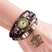 Women Watch Bracelets Gift Quartz Weave Around PU Leather Wrist Watches Butterfly Bracelet Lady Female reloj mujer kol saati