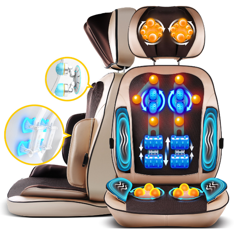 6D Multi-function Massage Chair Cushion Body Cervical Massage Back Machine Vibrate Shiatsu Roll Pillow Neck Hips Massager