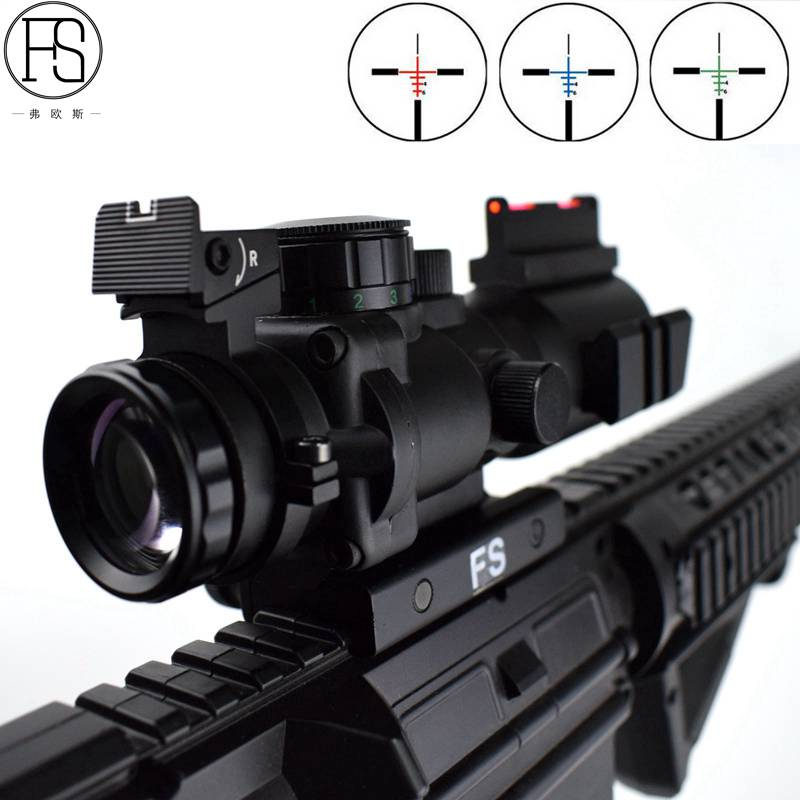 Red/Green/Blue 4X32 Fiber Rifle Scope Picatinny Tri-illuminated Recticle  For 20MM Rail Hunting Rifle Sight hunting 4 x 32 compact rifle scope fiber sight red dot scope with fiber optic sight for 20mm rail ulitity