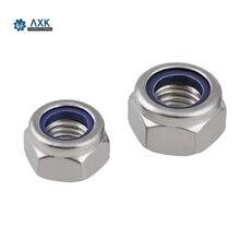 50Pcs DIN985 M2 M2.5 M3 M4 M5 M6 M8 304 Stainless Steel Nylon Self-locking Hex Nuts Locknut Slip Lock Nut