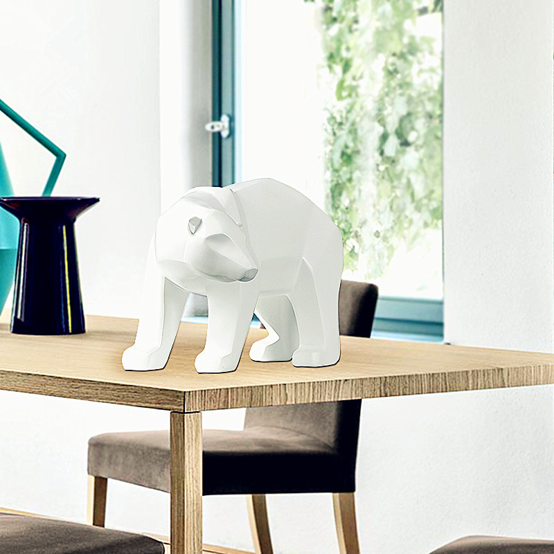 Simple White Abstract Geometric Polar Bears Sculpture Ornaments Modern Home Decorations Gift Crafts Ornamentation Statue L2780