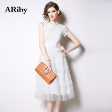 ARiby White Lace Dress Women Slim Dress 2019 New Summer Office Lady Fashion Temperament Mesh Lace Sleeveless Solid A-Line Dress lace insert sleeveless a line dress