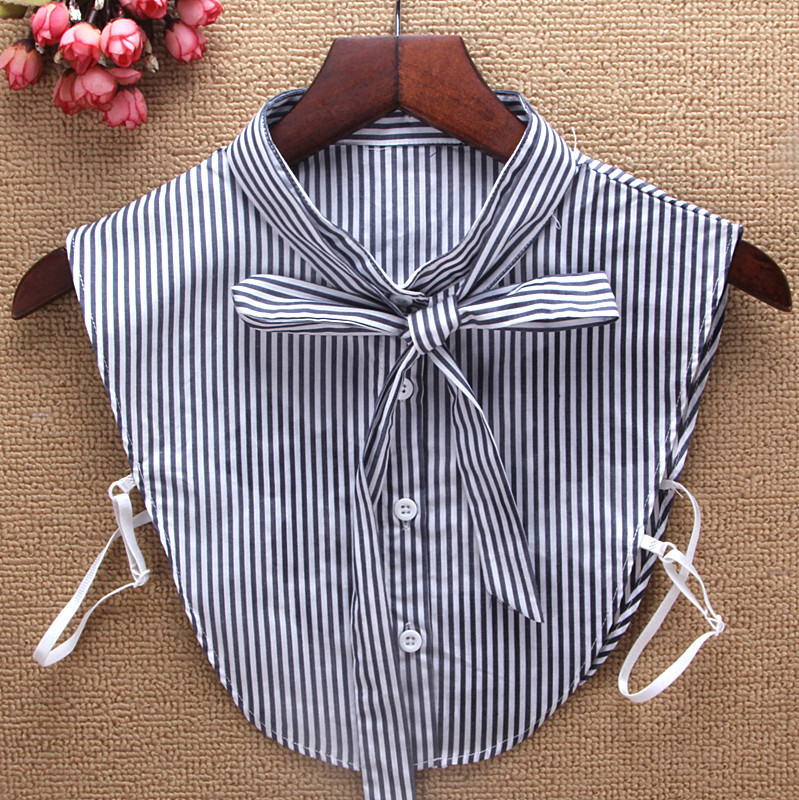 New Stand Collar Shirt Fake Collar Striped Bowtie Cotton Women Removable Peto Mujer Chemisier Faux Cols China Garment Croptop