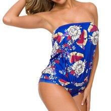 Танкини женский летний сексуальный без бретелек с принтом бикини набор купальник монокини купальник купальный костюм пляжный танкини больших размеров набор