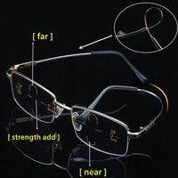 2019 высокое качество металлический титановый бифокальные очки для чтения анти синий свет очки увеличительное пресбиопии мужские черные 1,0 1,...