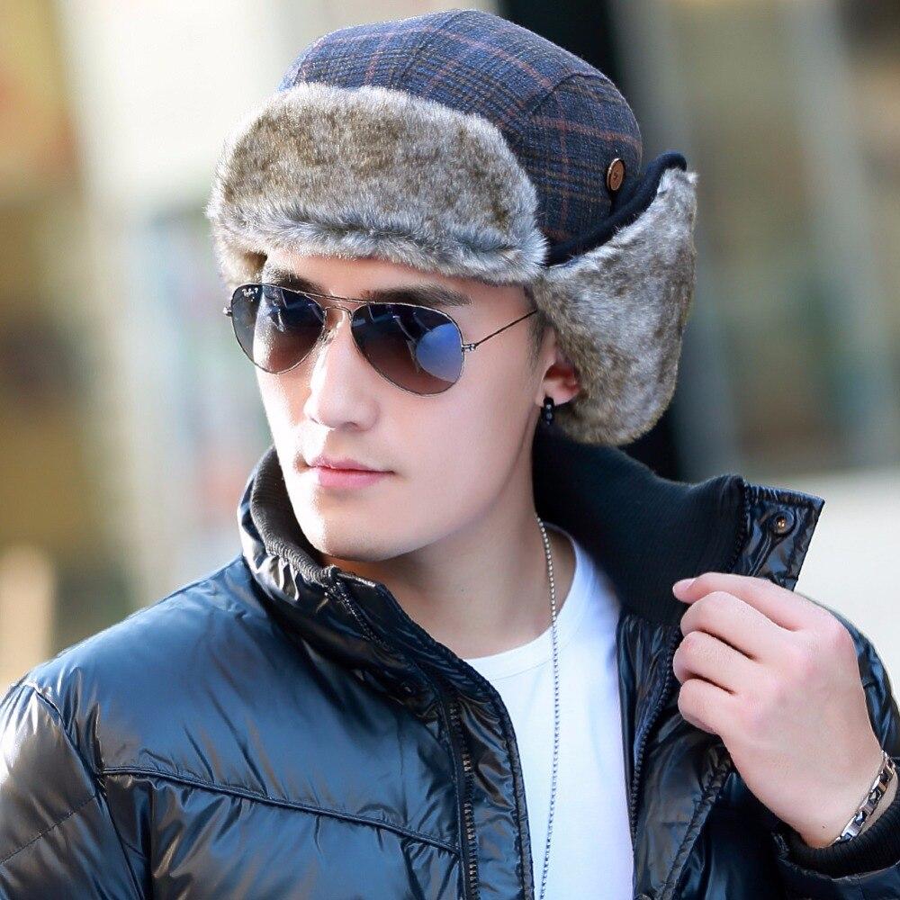SIGGI Men Bomber Winter Hat Russian Faux Fur Trapper Wool Plaid Earflap  Ukraine Peruvian 68162-in Bomber Hats from Apparel Accessories on  Aliexpress.com ... fc9099698432