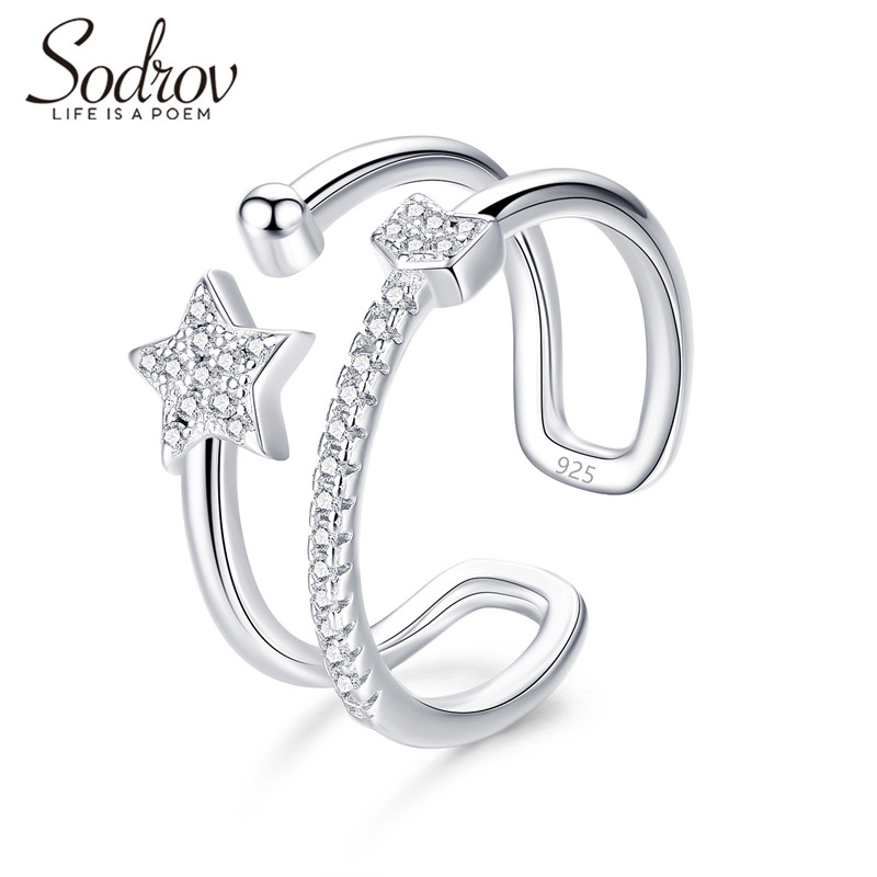 SODROV Star Ring Genuine 925 Sterling Silver Open Engagement Jewelry For Women HR046