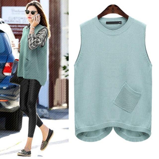 Large Size XL-5XL Loose Knit Women's Vest Water Green Color Waistcoat For Women Oblique Plug Pocket Sleeveless Sweater Vest Coat