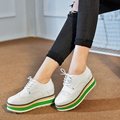 2017 Brand Women Platform Shoes Woman Carved Brogue Soft Leather Flats Shoes Lace Up Creepers Female Flat Oxford Shoes For Women