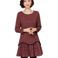 5XL Plus Size Women Clothing 2019 Spring Autumn Lace Splice Fake Two Piece O neck Solid Color Female Casual Long Tops LQ632
