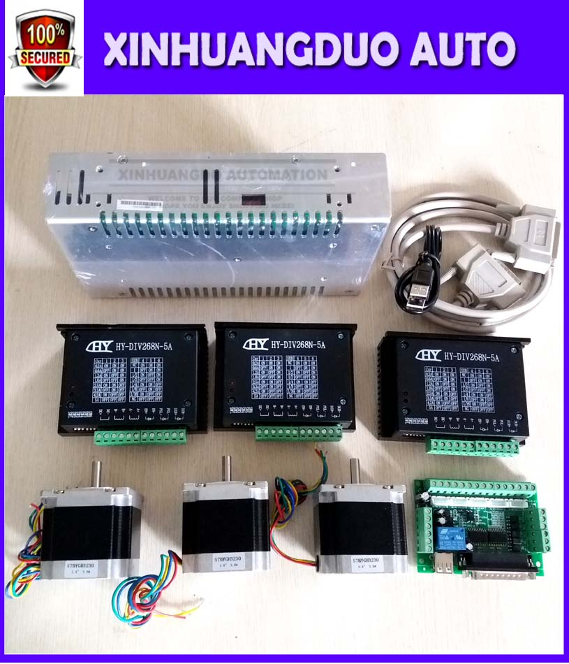 3 Axis CNC Router Kit ,3pcs 1AxisTB6600 driver +one interface board + 3pcs 56mm Nema 23 (3230) stepper motor +one power supply