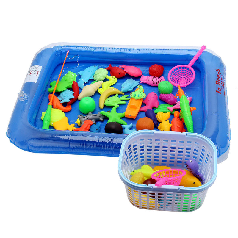 New Fish Pond Game Magnetic Fishing Pole Rod 3D Fish Model Baby Bath Toys Outdoor Fun Kids Toy + Pool + Small Inflator