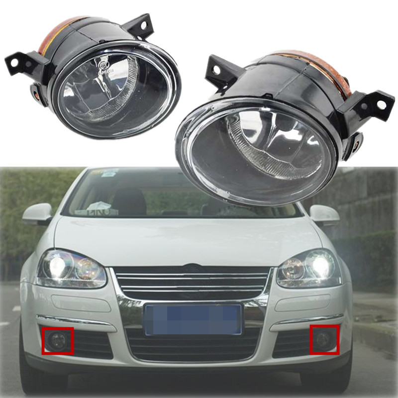 ФОТО 1Pair For VW Jetta Mk5 Fog Light GTi Bora Front Bumper Driving Lamp With H11 12V 55W Bulbs Left & Right Side