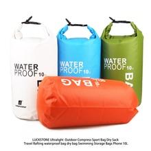 LUCKSTONE  10L Ultralight  Outdoor Compress Phone  Sport Bag Dry Sack Travel Rafting waterproof bag dry bag Swimming Storage Bag