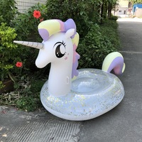 250CM Giant Colorful Glitter Unicorn Pool Float Inflatable Rainbow Pegasus Swimming Ring Sunbathing Lounger Water Toys for Adult