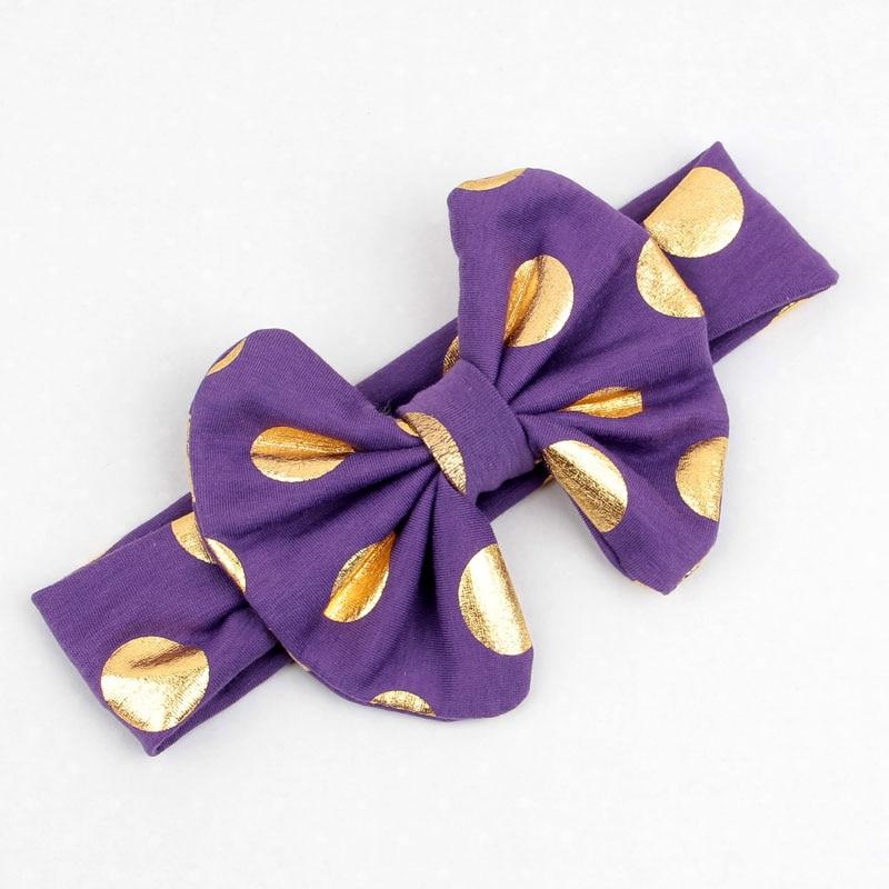 Yunfly 3pcs Fashion Baby Headbands Cotton Blend Messy Gold Dot Bow Headwrap Big Bow Knit Headwrap Baby Turban Headband