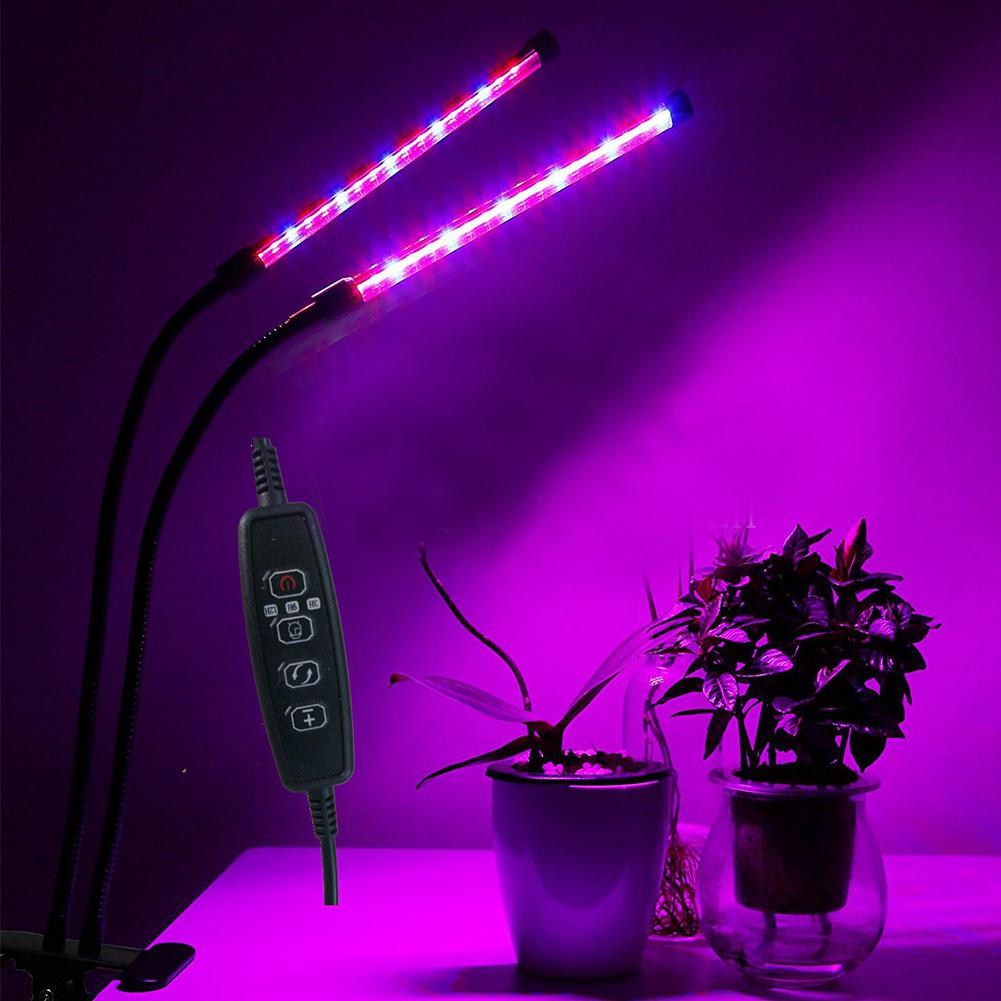 LumiParty 40 LED Double Tube Plant Grow Light with Red & Blue Light for Indoor Hydroponic Vegetable Cultivation