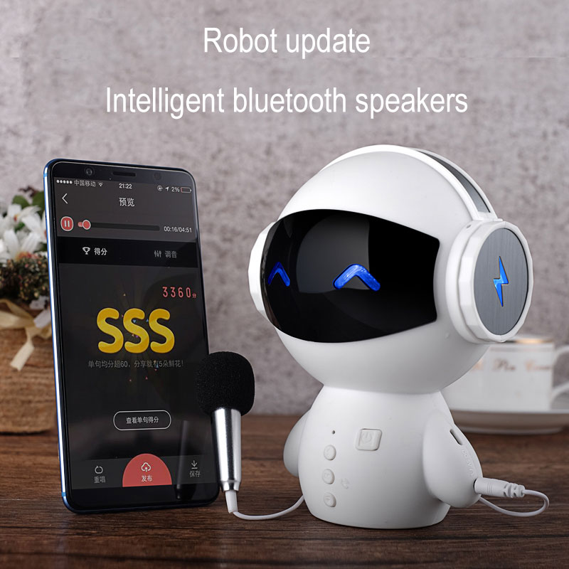 Mini Intelligent Robot Bluetooth Speaker M10 Smart-robot Cute Bass Portable Bluetooth speakers for Karaoke Power Bank Function armband for iphone 6